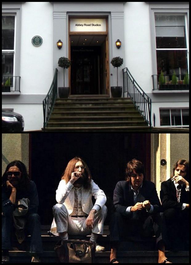 Otra foto de los muchachos en la puerta de los estudios