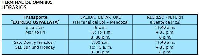 Horario terminal de buses