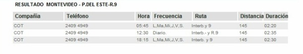 Bus Montevideo -Punta del Este