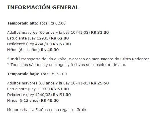 Precio Tickets Marzo 2015