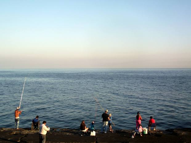 Pesca en Las Ramblas