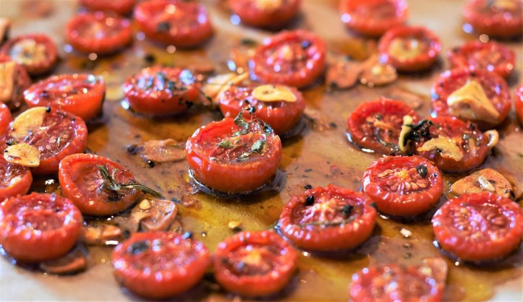 tomatoes, oil, herbs
