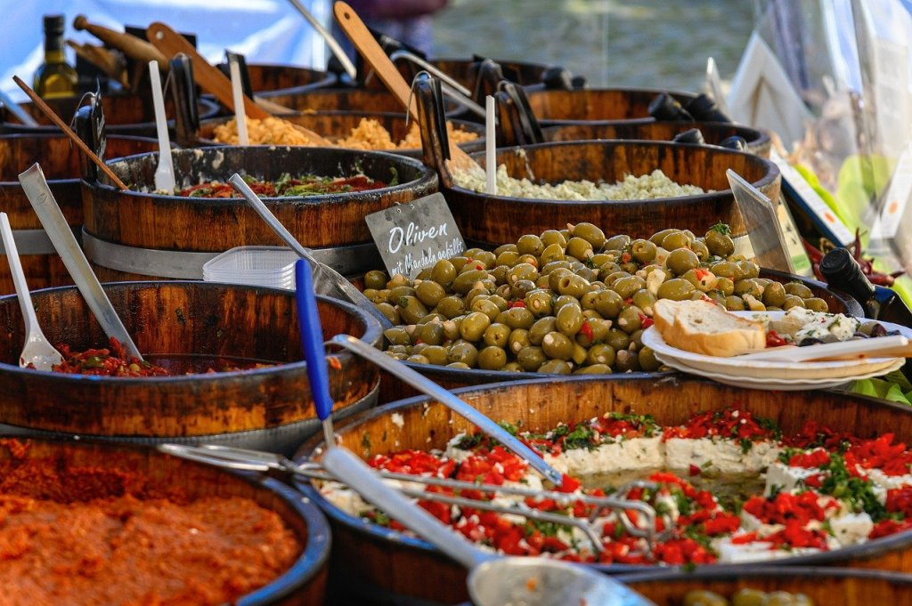 market, stand, food